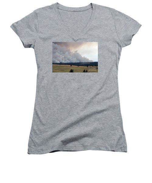 Myrtle Fire West Of Wind Cave National Park Women's V-Neck (Athletic Fit)