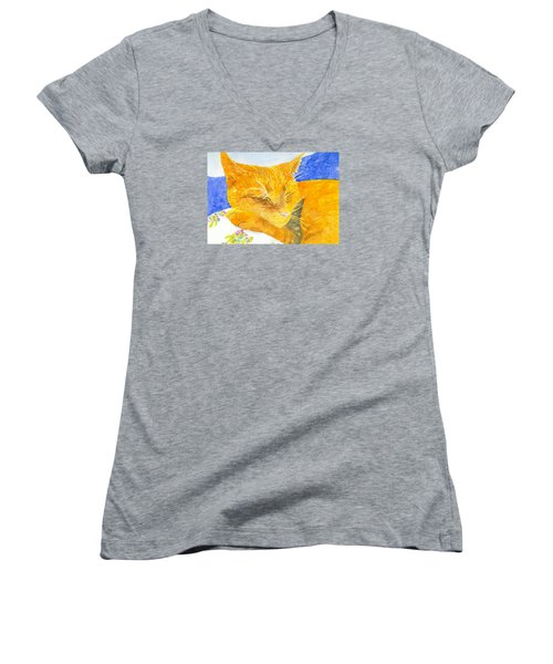 Nappy Cat Women's V-Neck T-Shirt (Junior Cut) by Anne Marie Brown