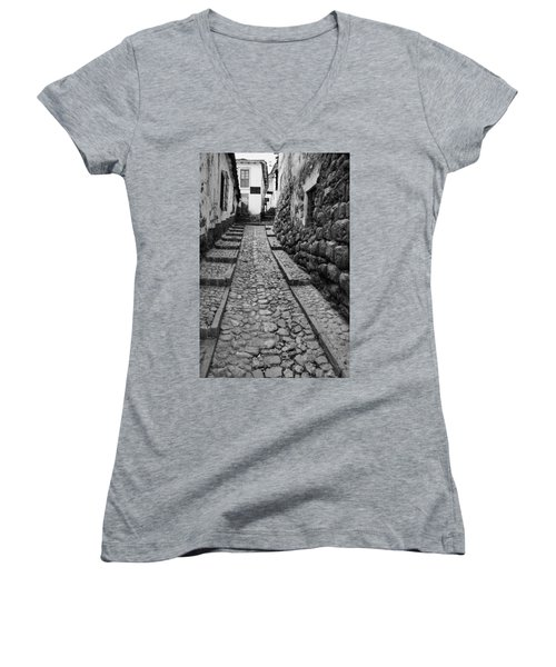 Narrow Street In Cusco Women's V-Neck T-Shirt