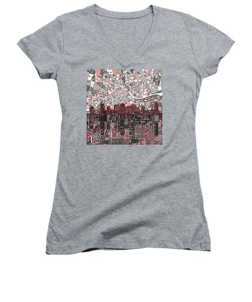 Nashville Skyline Abstract 3 Women's V-Neck (Athletic Fit)