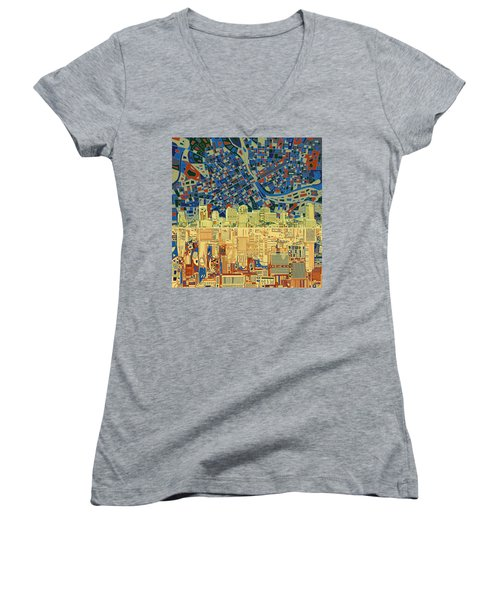 Nashville Skyline Abstract 9 Women's V-Neck (Athletic Fit)
