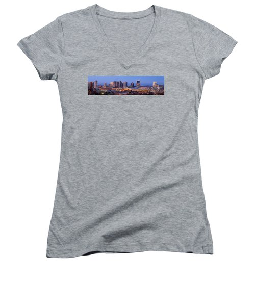 Nashville Skyline At Dusk Panorama Color Women's V-Neck T-Shirt (Junior Cut) by Jon Holiday
