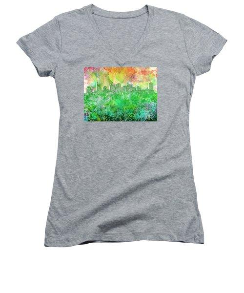 Nashville Skyline Watercolor 2 Women's V-Neck T-Shirt