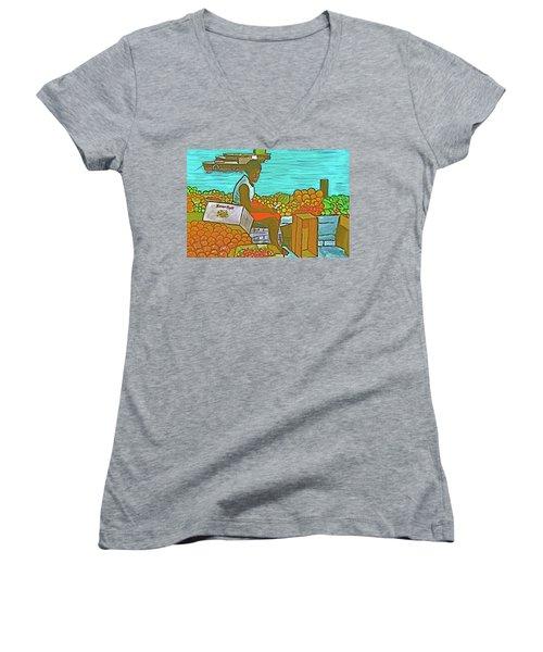 Nassau Fruit Seller Women's V-Neck T-Shirt (Junior Cut) by Frank Hunter
