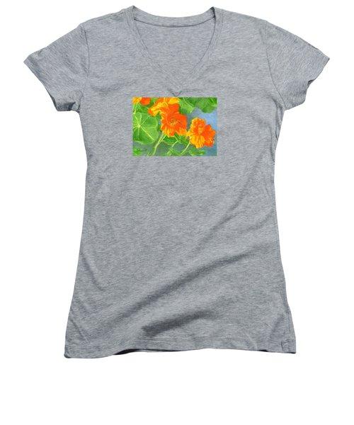 Nasturtiums Flowers Garden Small Oil Painting Women's V-Neck T-Shirt (Junior Cut) by Elizabeth Sawyer