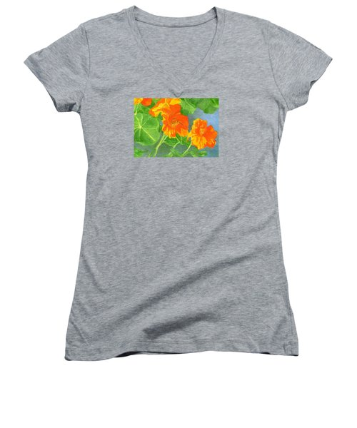Nasturtiums Flowers Garden Small Oil Painting Women's V-Neck T-Shirt