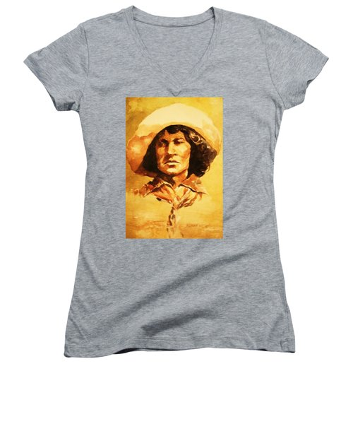 Nat Love Bronc Buster Women's V-Neck T-Shirt