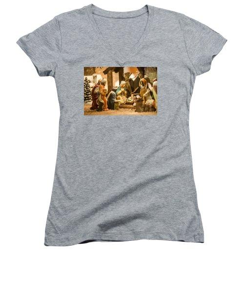 Women's V-Neck T-Shirt (Junior Cut) featuring the photograph Nativity Set by Alex Grichenko