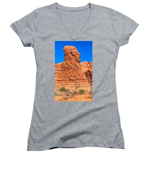 Women's V-Neck T-Shirt (Junior Cut) featuring the photograph Natural Sculpture by John M Bailey