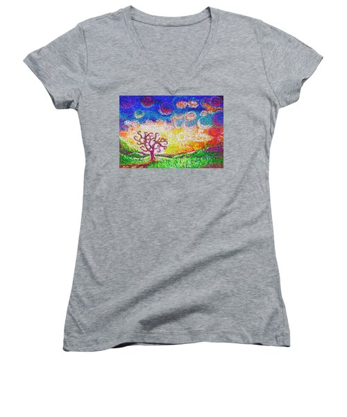 Women's V-Neck featuring the painting Nature 2 22 2015 by Hidden  Mountain