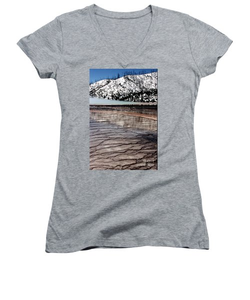 Women's V-Neck T-Shirt (Junior Cut) featuring the photograph Nature's Mosaic II by Sharon Elliott