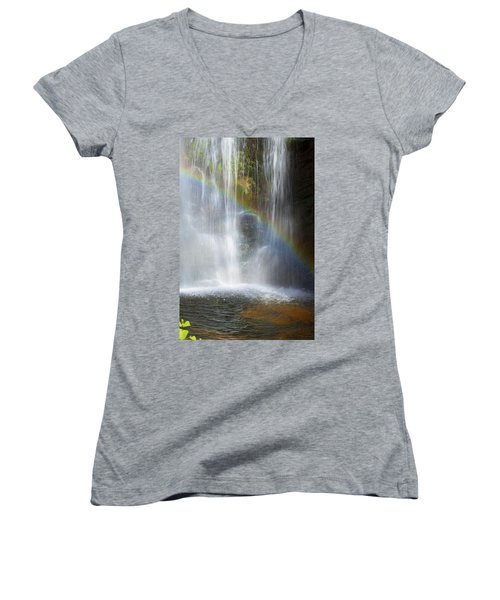 Women's V-Neck T-Shirt (Junior Cut) featuring the photograph Natures Rainbow Falls by Jerry Cowart