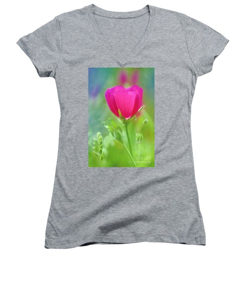 Women's V-Neck T-Shirt (Junior Cut) featuring the photograph Natures Winecup South Texas by Dave Welling