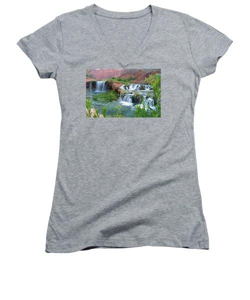 Women's V-Neck T-Shirt (Junior Cut) featuring the photograph Navajo Falls by Alan Socolik