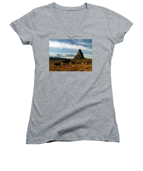 Navajo Horses At El Capitan Women's V-Neck T-Shirt (Junior Cut) by Jeff Brunton
