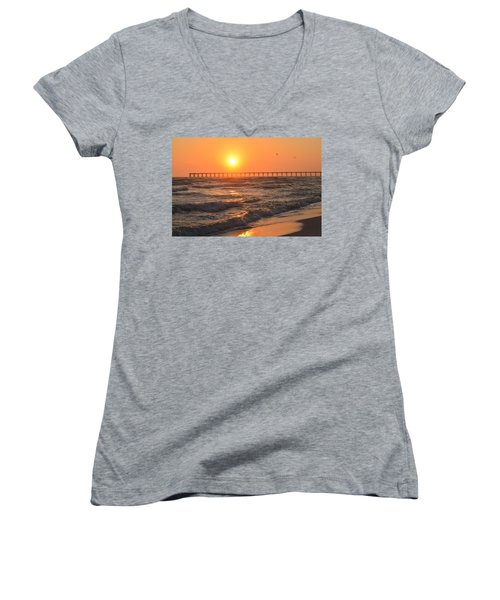 Navarre Beach And Pier Sunset Colors With Birds And Waves Women's V-Neck T-Shirt (Junior Cut) by Jeff at JSJ Photography