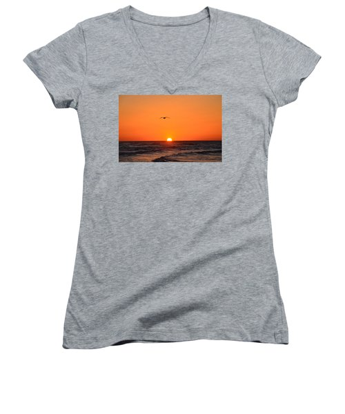 Navarre Beach Sunrise Waves And Bird Women's V-Neck T-Shirt (Junior Cut) by Jeff at JSJ Photography