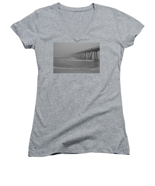 Navarre Pier Disappears In The Bw Fog Women's V-Neck T-Shirt (Junior Cut) by Jeff at JSJ Photography