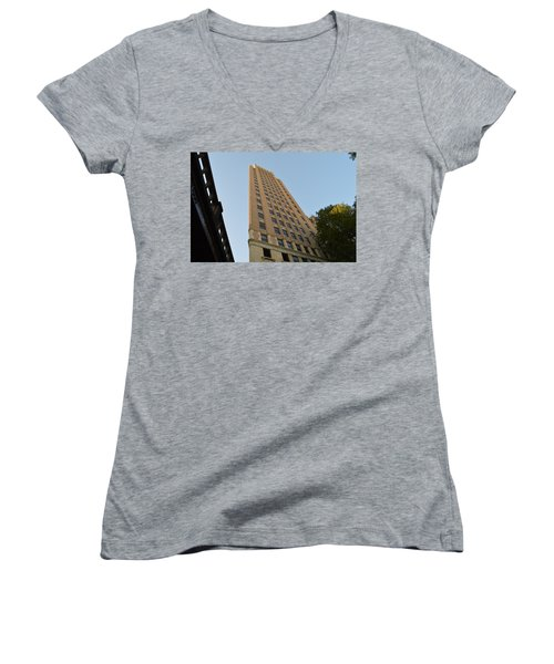 Women's V-Neck T-Shirt (Junior Cut) featuring the photograph Navarro St Illusion by Shawn Marlow