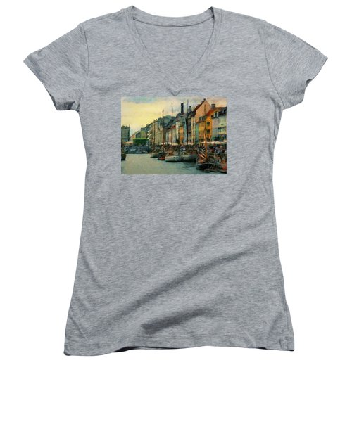 Nayhavn Street Women's V-Neck T-Shirt (Junior Cut) by Jeff Kolker