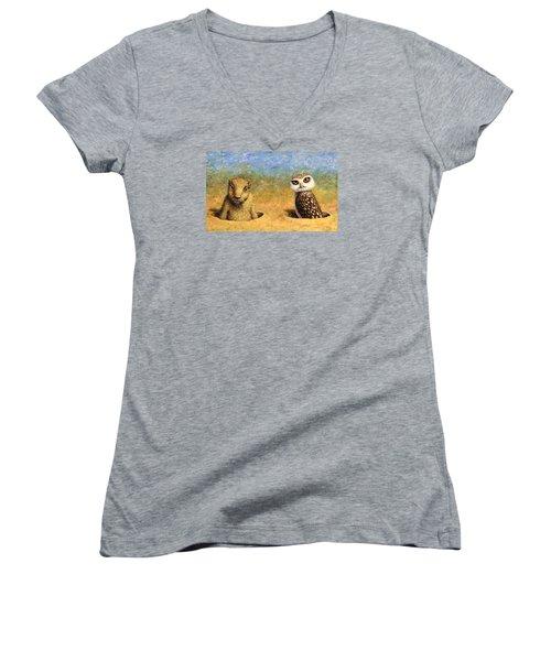 Neighbors Women's V-Neck T-Shirt (Junior Cut) by James W Johnson