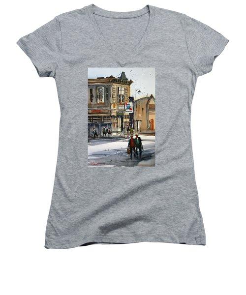 Neshkoro Tavern Women's V-Neck T-Shirt (Junior Cut) by Ryan Radke