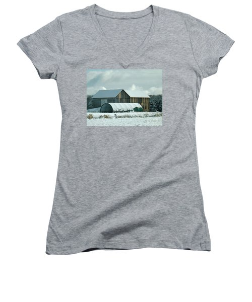 Women's V-Neck T-Shirt (Junior Cut) featuring the photograph New And Old Barn Planks by Brenda Brown