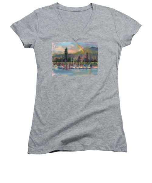 New Covenant - Rainbow Over Marina Women's V-Neck