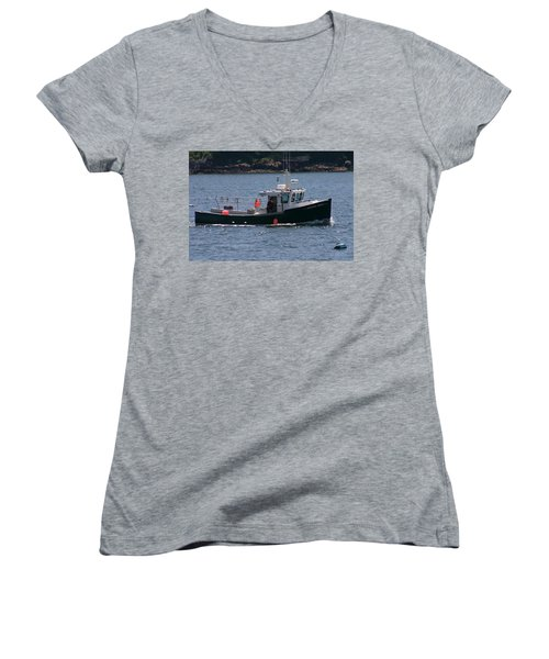 Women's V-Neck T-Shirt (Junior Cut) featuring the photograph New England Fishing Boat by Denyse Duhaime