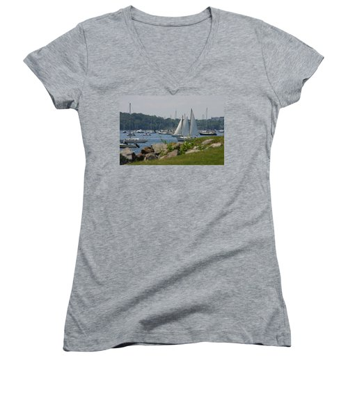 Women's V-Neck T-Shirt (Junior Cut) featuring the photograph New England Seascape by Denyse Duhaime