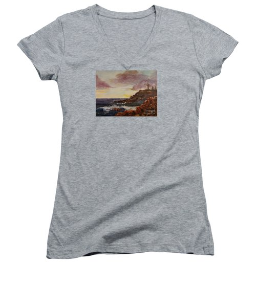 Women's V-Neck T-Shirt (Junior Cut) featuring the painting New England Storm by Lee Piper
