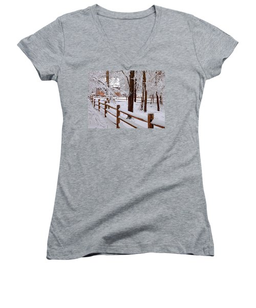 New England Winter Women's V-Neck T-Shirt