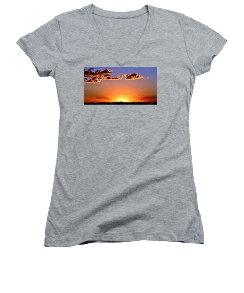 Women's V-Neck T-Shirt (Junior Cut) featuring the photograph New Mexico Sunset Glow by Barbara Chichester