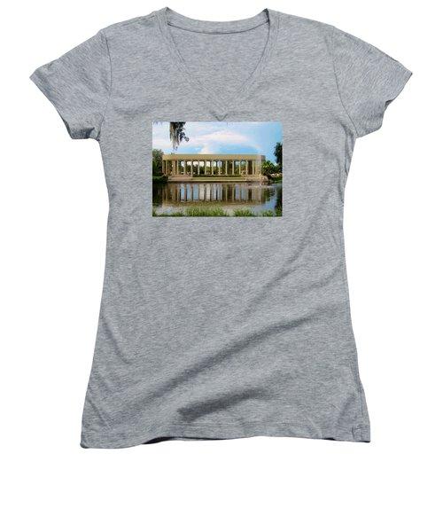 New Orleans City Park - Peristyle Women's V-Neck T-Shirt (Junior Cut) by Deborah Lacoste