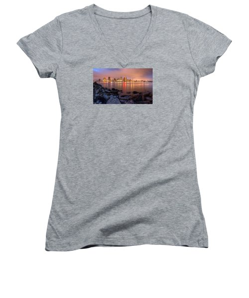 Women's V-Neck T-Shirt (Junior Cut) featuring the photograph New Orleans Skyline by Tim Stanley