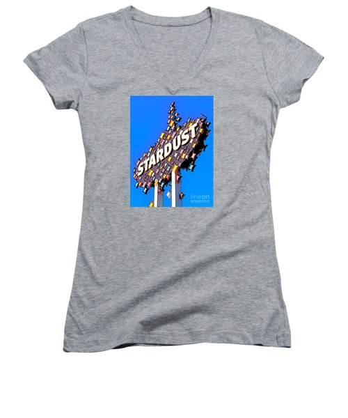 Original Stardust Casino Neon In Las Vegas Pop Art Women's V-Neck