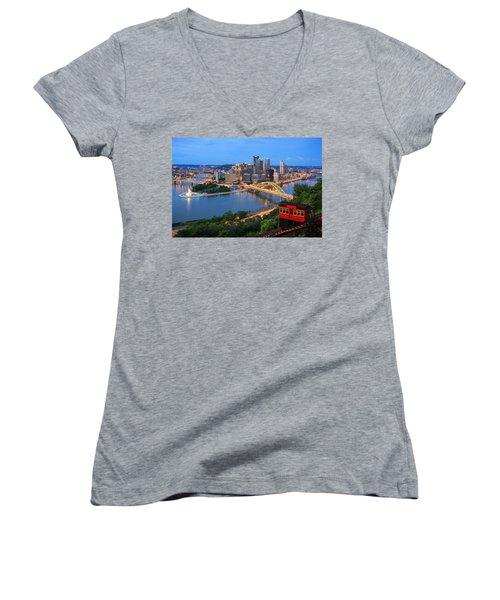 Pittsburgh Summer  Women's V-Neck T-Shirt (Junior Cut) by Emmanuel Panagiotakis