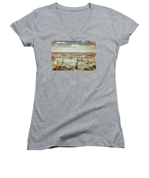 New York City - Brooklyn Bridge And Manhattan Bridge From Above Women's V-Neck T-Shirt (Junior Cut) by Vivienne Gucwa