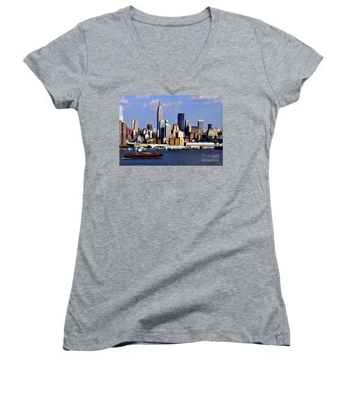 New York City Skyline With Empire State And Red Boat Women's V-Neck T-Shirt
