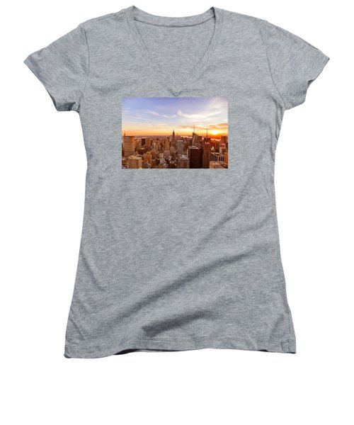New York City - Sunset Skyline Women's V-Neck T-Shirt