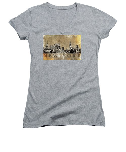 Women's V-Neck T-Shirt (Junior Cut) featuring the photograph New York City Grunge by Suzanne Powers