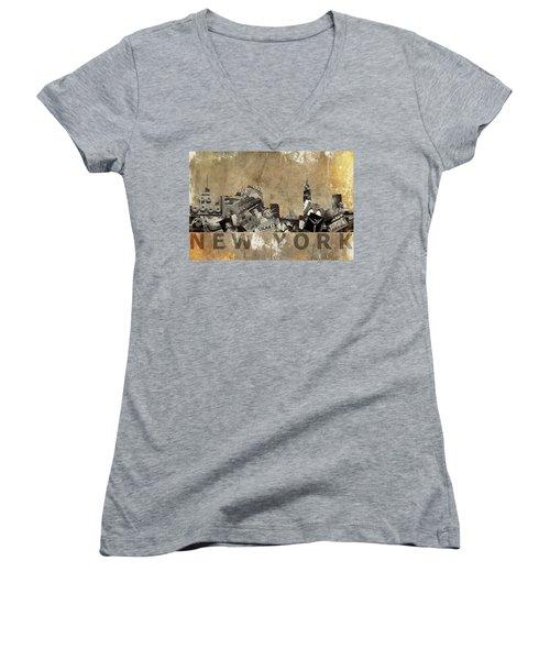 New York City Grunge Women's V-Neck T-Shirt