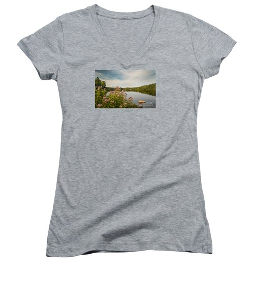 Women's V-Neck T-Shirt (Junior Cut) featuring the photograph New York Lake by Debbie Green