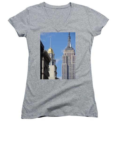 Women's V-Neck T-Shirt (Junior Cut) featuring the photograph New York New York by Ira Shander