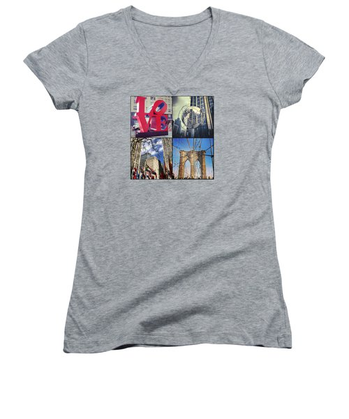 Women's V-Neck T-Shirt (Junior Cut) featuring the photograph New York Sights  by Kerri Farley