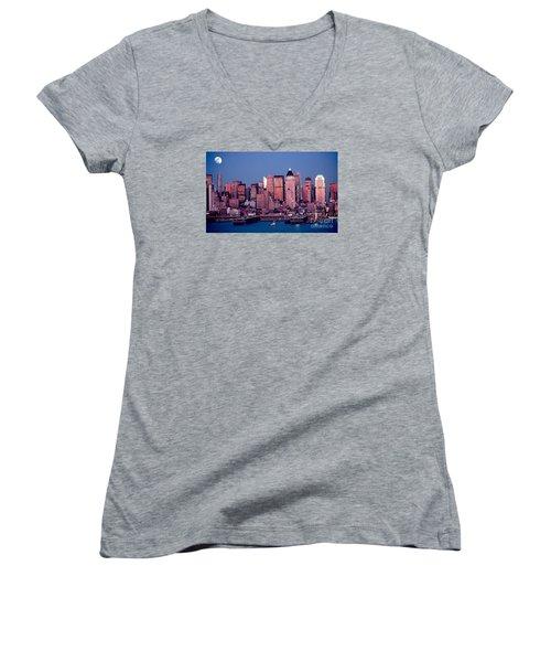New York Skyline At Dusk Women's V-Neck