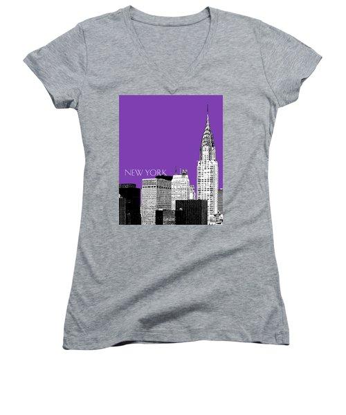 New York Skyline Chrysler Building - Purple Women's V-Neck T-Shirt