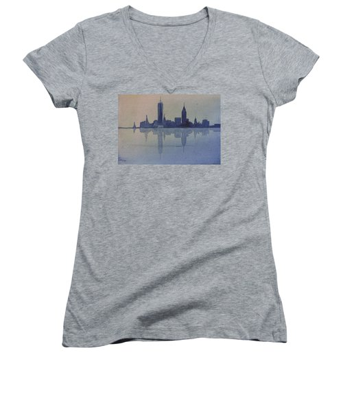 New York Skyline  Women's V-Neck T-Shirt (Junior Cut) by Donna Walsh