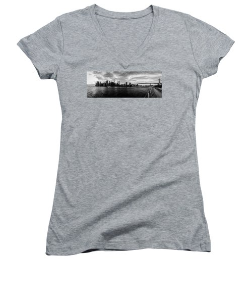 New York Skyline Women's V-Neck T-Shirt (Junior Cut) by Nicklas Gustafsson