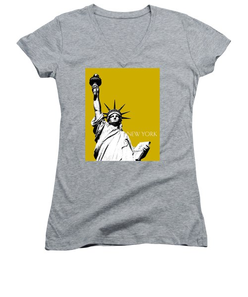 New York Skyline Statue Of Liberty - Gold Women's V-Neck (Athletic Fit)
